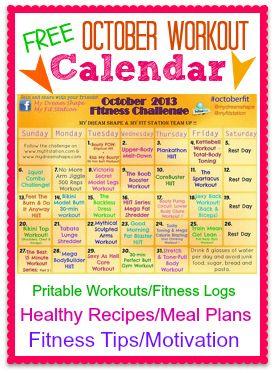 October Fitness Challenge: Full Workout Calendar via www.MyFitStation.com