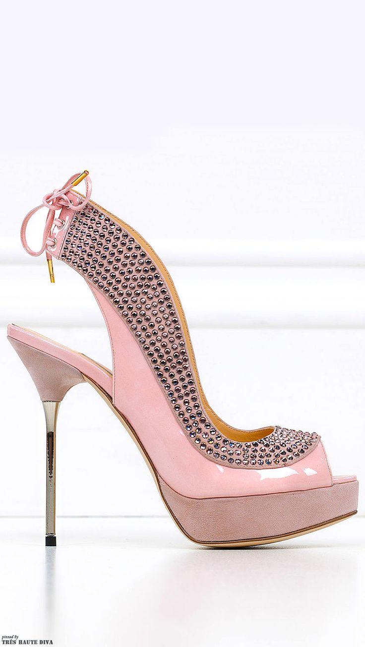 Zuhair Murad ~ Summer Pink Patent Leather Platform Sandal w Stud Accent + Metal Spike Heel 2014