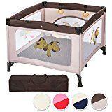 TecTake Parc pour Bébé Lit de Bébé Parapluie Pliant avec Sac de Transport - diverses couleurs au choix - (Beige | No. 402208)