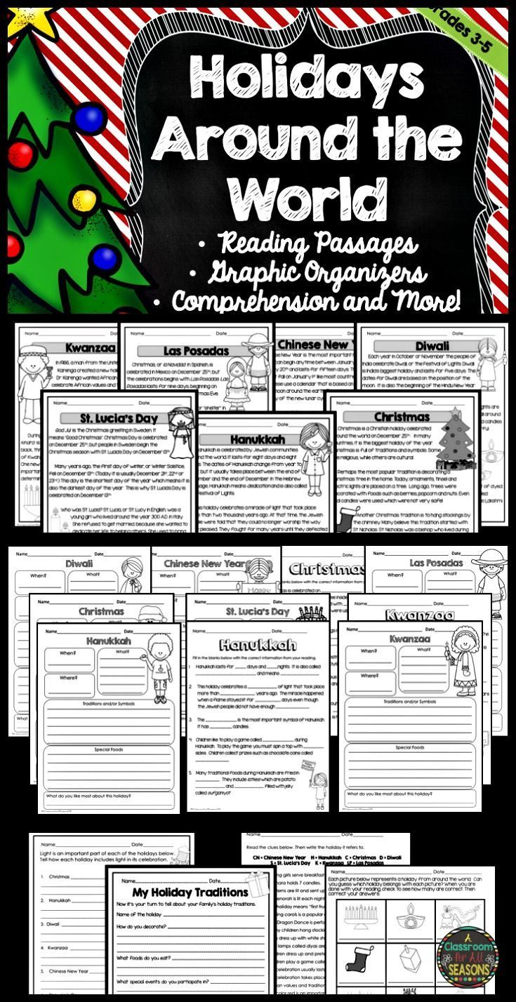 This Holidays Around the World Unit is perfect for students in upper elementary! Fun activities include reading comprehension, graphic organizers and many writing ideas. Includes Kwanzaa, Eid, Las Posadas, Chinese New Year, Hanukkah, Christmas, Diwali, and St. Lucia's Day. Great for third, fourth and fifth grade classrooms.