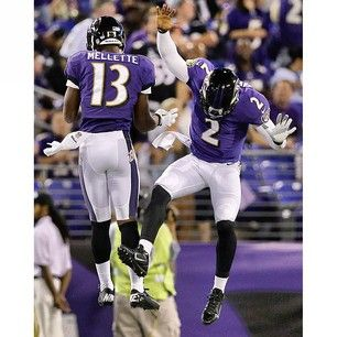 Aaron Mellette & Tyrod Taylor celebrate after Mellette's TD vs the Falcons 8/15/13