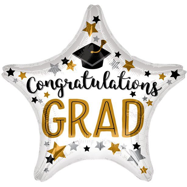"Congrats Grad Star Balloon - 18"" Foil - Graduation Party Balloons & Decorations (each)"