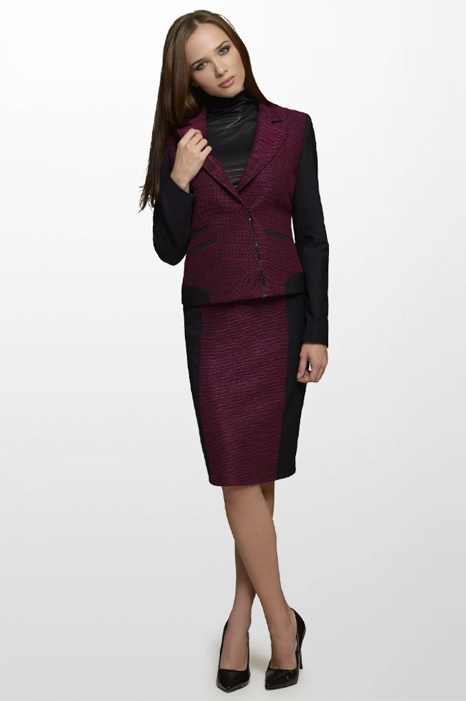 Sarah Lawrence - zip blazer with combination of two fabrics, lace shoulder jersey top, pencil skirt.
