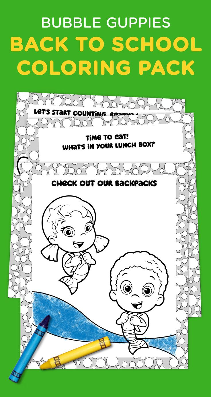 Bubble Guppies Off To School Coloring