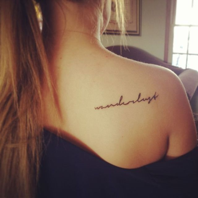Simple Letters Tattoo for Girl on Back