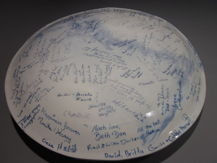 Wedding Platter signed by all guests at wedding reception.  Signatures permanent forever. $450.00