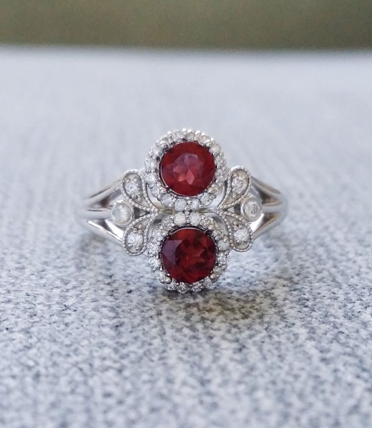"""Antique Garnet and Diamond Halo Bohemian Engagement Ring Red Nature 14K white Gold Flower Art Deco Art nouveau Couples Ring """"The Utopia"""" by PenelliBelle on Etsy https://www.etsy.com/listing/249032847/antique-garnet-and-diamond-halo-bohemian"""