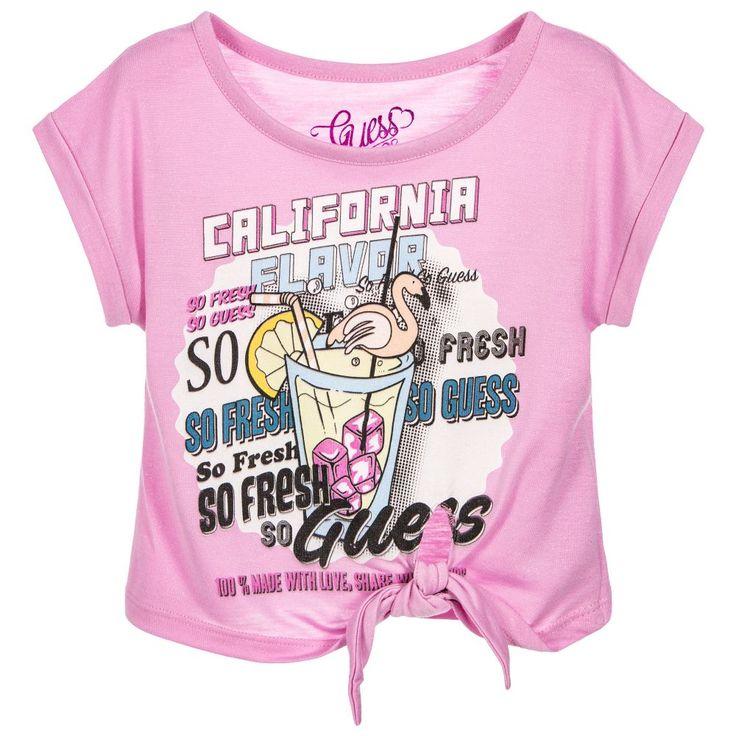 Guess Girls Pink Tie Up T-Shirt at Childrensalon.com