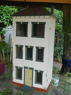 Sale American Folk Art Stucco 3 Story Large Doll House   eBay