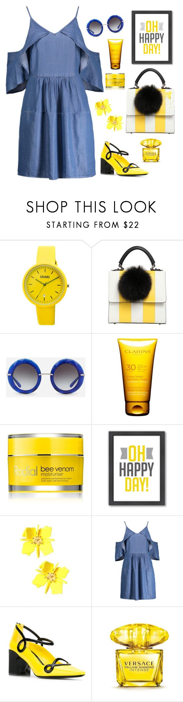 """""""happy"""" by clairsnotebook ❤ liked on Polyvore featuring Crayo, Les Petits Joueurs, Dolce&Gabbana, Clarins, Rodial, Americanflat, W118 by Walter Baker, Fabrizio Viti and Versace"""