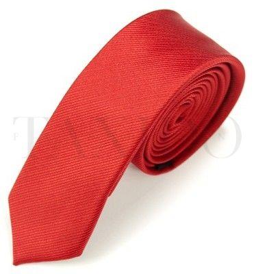 Pánská úzká kravata - červená