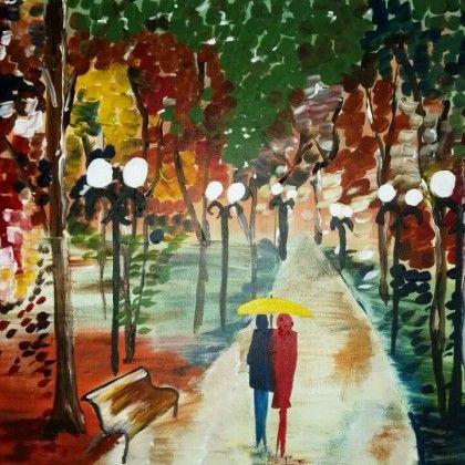 Herfst. Zelf komen schilderen? Schilderen met een wijntje. Hét creatieve avondje uit. paintbar.nl.