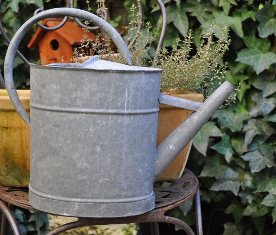 Vintage French galvanised watering can  small by LaBourgognedeNath