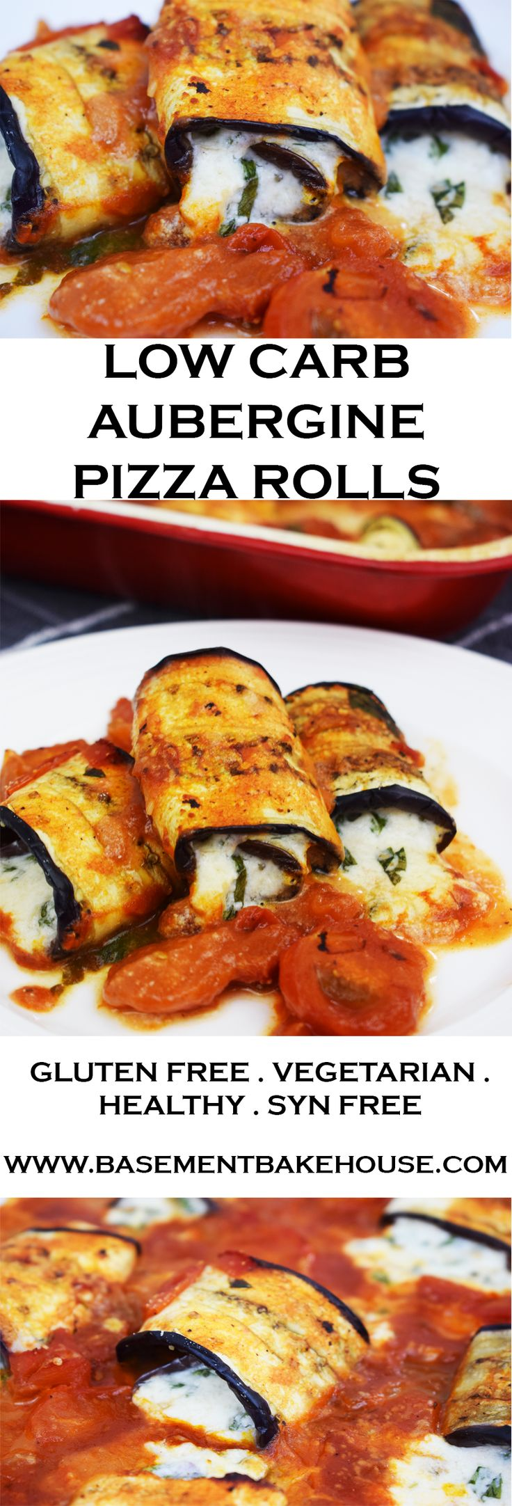 This Low Carb Aubergine Pizza Rolls recipe is gluten free, healthy and syn free on Slimming World! Filled with a cream cheese, parmesan and basil filling and a rich homemade tomato sauce! The perfect low carb answer to your pizza cravings!