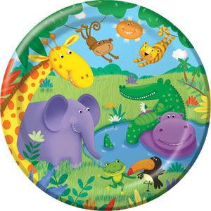 20425945 - Jungle Buddies Plates Jungle Buddies Dinner Plates (23cm) Paper - Pack of 8. Please note: approx. 14 day delivery time.