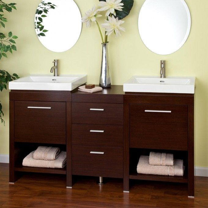 """59"""" Dumont Double Sink Vanity - Wenge - Double Sink Vanities - Bathroom Vanities - Bathroom"""