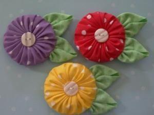 fabric yo yo flowers by kerri_posts