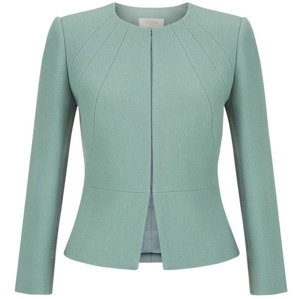 Hobbs Aphra Jacket, Cameo Green (23.080 RUB) ❤ liked on Polyvore featuring outerwear, jackets, wool jacket, long sleeve jacket, collarless jacket, short green jacket and peplum jacket