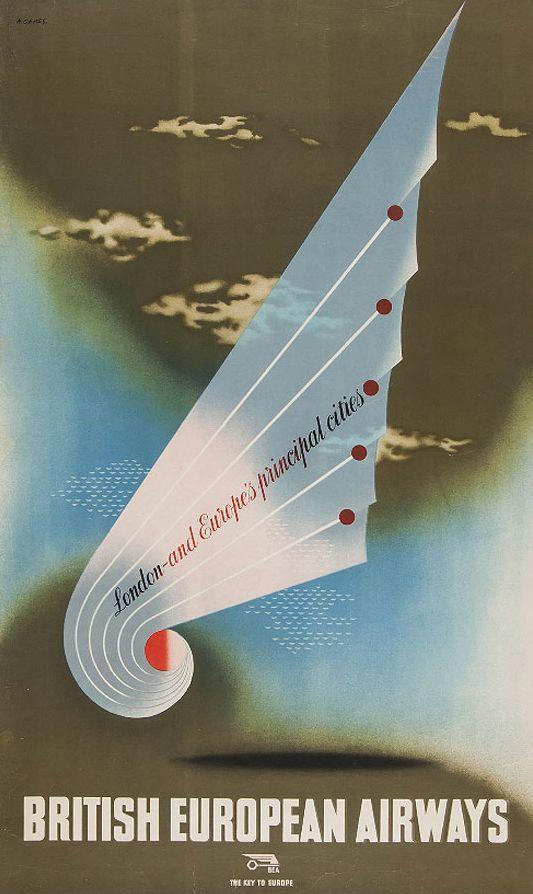 Travel poster by Abram Games (1914-1996), British European Airways.