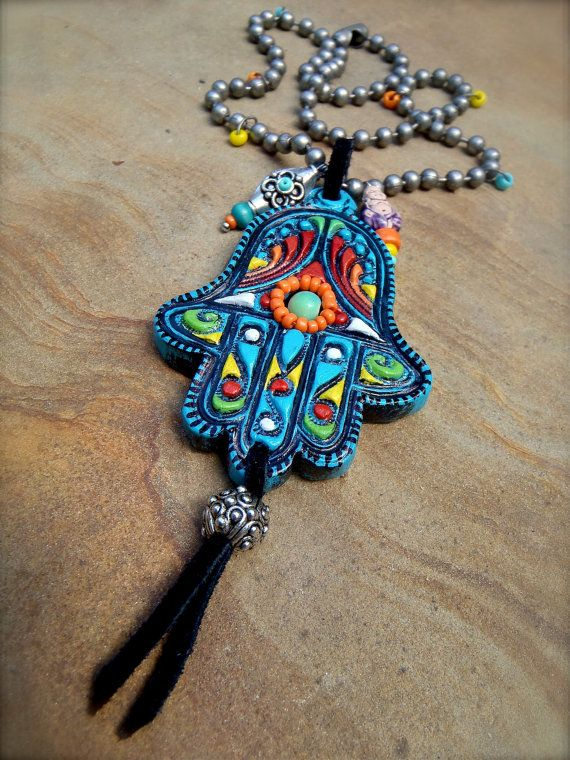Fatima hand HAMSA NECKLACE gypsy protective jewelry spiritual necklace statement necklace hippie bohemian unique