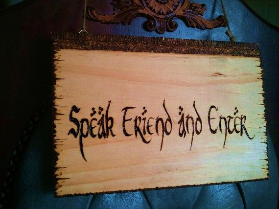 Speak friend and enter | Lord of the rings and hobbit gift idea | lord of the rings plaque | Hobbit door sign