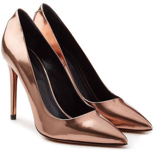 Alexander Wang Metallic Leather Pumps found on Polyvore featuring shoes, pumps, heels, rose, pointed toe pumps, pointy toe stiletto pumps, leather pumps, high heel pumps and pointed toe high heels stilettos