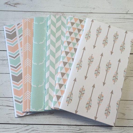 Beautiful set of Notebooks perfect for you Midori / Fauxdori Each notebook is hand cut You will receive a pack of 6 notebooks as shown in picture