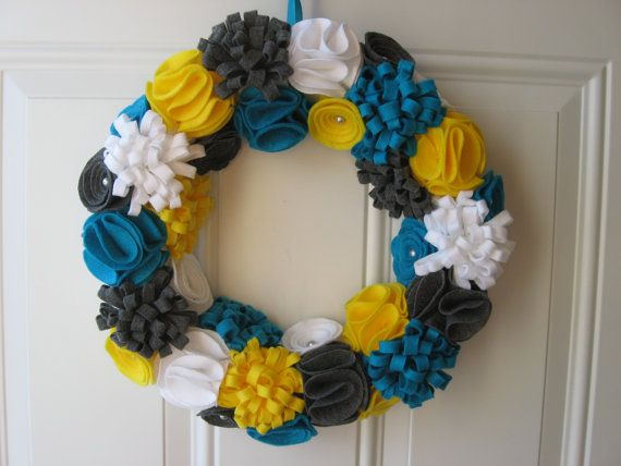 Spring Wreath- Teal, Yellow, White and Grey Felt Flower Wreath, Trendy Wreath 12 inches, Door Decoration. $45.00, via Etsy.