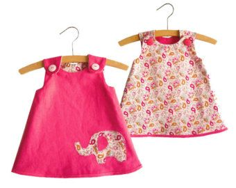 Reversible A Line Dress Pattern/ Toddler dress pattern/ Girl's Dress Pattern/ Baby dress pattern/ Childrens Sewing Pattern.Size 0-24 months