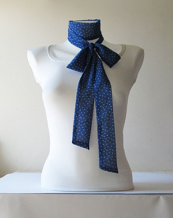 Blue Skinny Scarf Long Thin Scarf with by NaryasSewingCorner