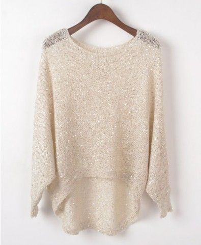 High Low Beige Jumpers with Sequin