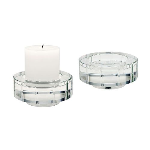 Windowpane Crystal Five-Inch Round Candle Holder - Set of Two