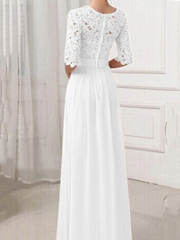 12bb4a419caa White Plain Patchwork Lace Hollow-out Long Sleeve Bridesmaid Elegant Prom  Wedding Registry Office Maxi Dress - Maxi Dresses - Dresses