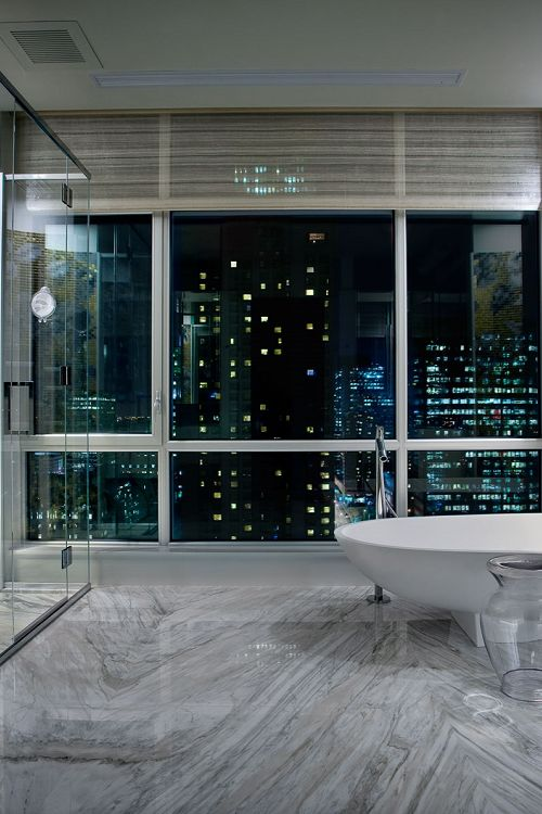 Penthouse Bathroom Interior Design OMG Love This. Marble Floors, Bizassa  Glass Mosaic In Gold Black And White, Sleek Modern Free Standing Tub, ... Pictures