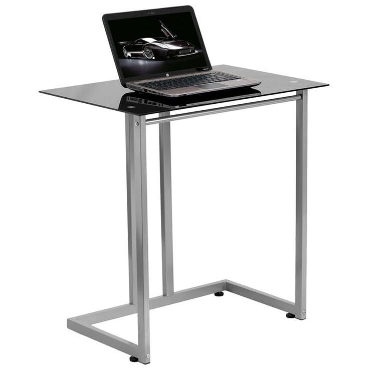 iHome Montclair Black Tempered Glass Home/Office Computer Desk, Size Large
