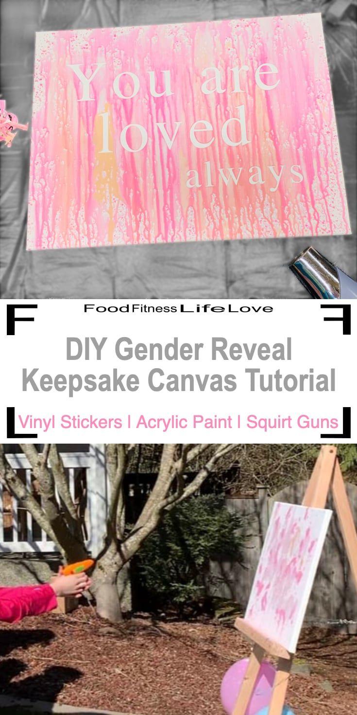 Diy Gender Reveal Keepsake Canvas Tutorial Gender Reveal Themes Simple Gender Reveal Gender Reveal Paint