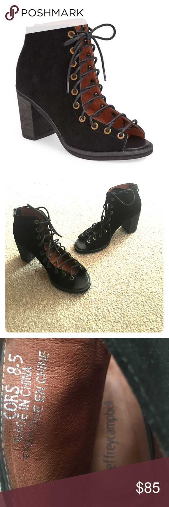 JEFFREY CAMPBELL 'CORS' BOOTIE Jeffrey Campbell 'Cors' suede peep toe lace up bootie. Black. Size 8.5. True to size. Worn once! No flaws. Jeffrey Campbell Shoes Ankle Boots & Booties