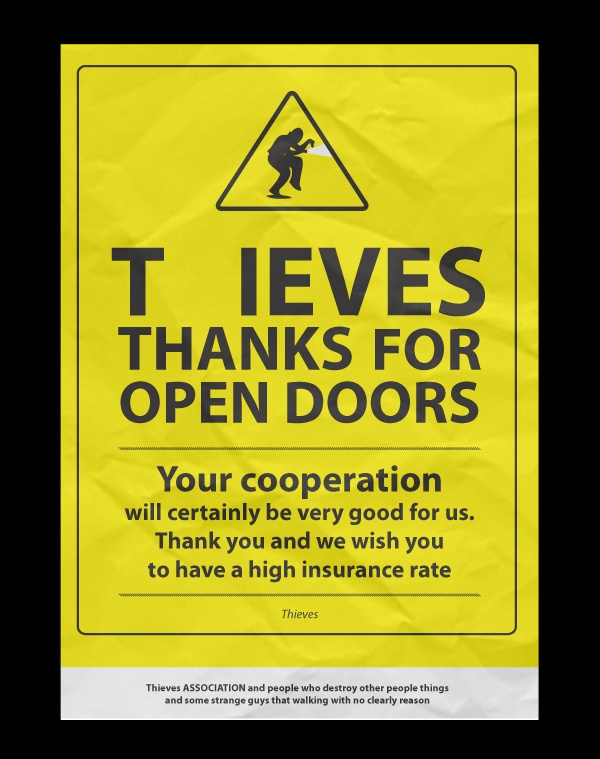 Thieves thanks for open doors /social campaign/ by Tomasz Sroka, via Behance