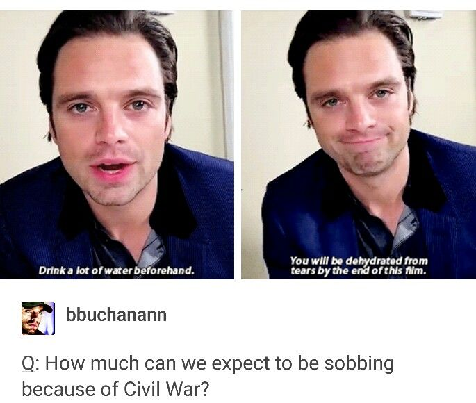 Seb tells us to drink a lot of water so we won't be dehydrated from crying. OOOOOHHH boy.