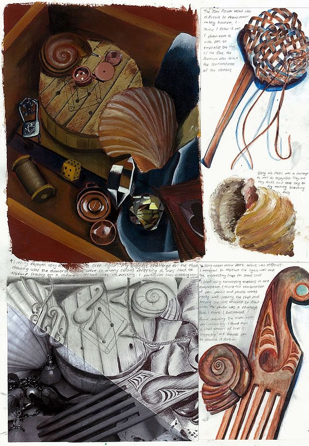 An amazing sketchbook page by fifteen year old Nikau Hindin of New Zealand. The entire presentation of her work can be viewed by clicking on link. So well done.