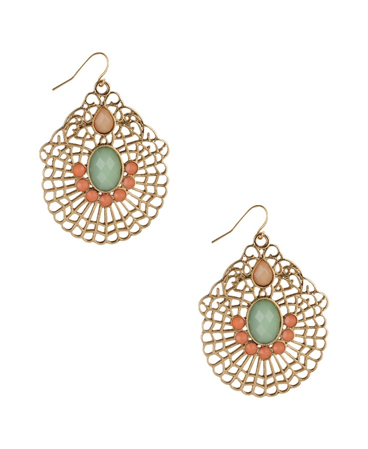 Mint and Peach: Amazing, Fashion, Drop Earrings, Peaches Mystyl, Mint And Peaches Earrings, Filigree Drop, Pink Earrings, Peaches My Styl, Jewelry And Accessories