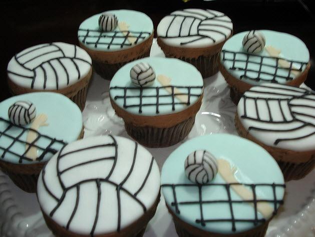 Fondant Volleyball Cupcakes