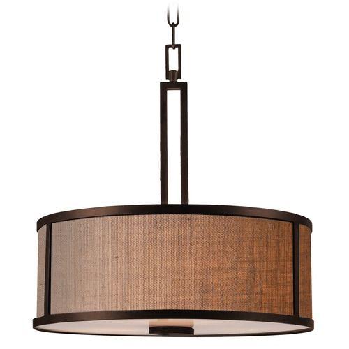 Kenroy Home Lighting Keen Bronze Pendant Light with Drum Shade | 93363BRZ | Destination Lighting