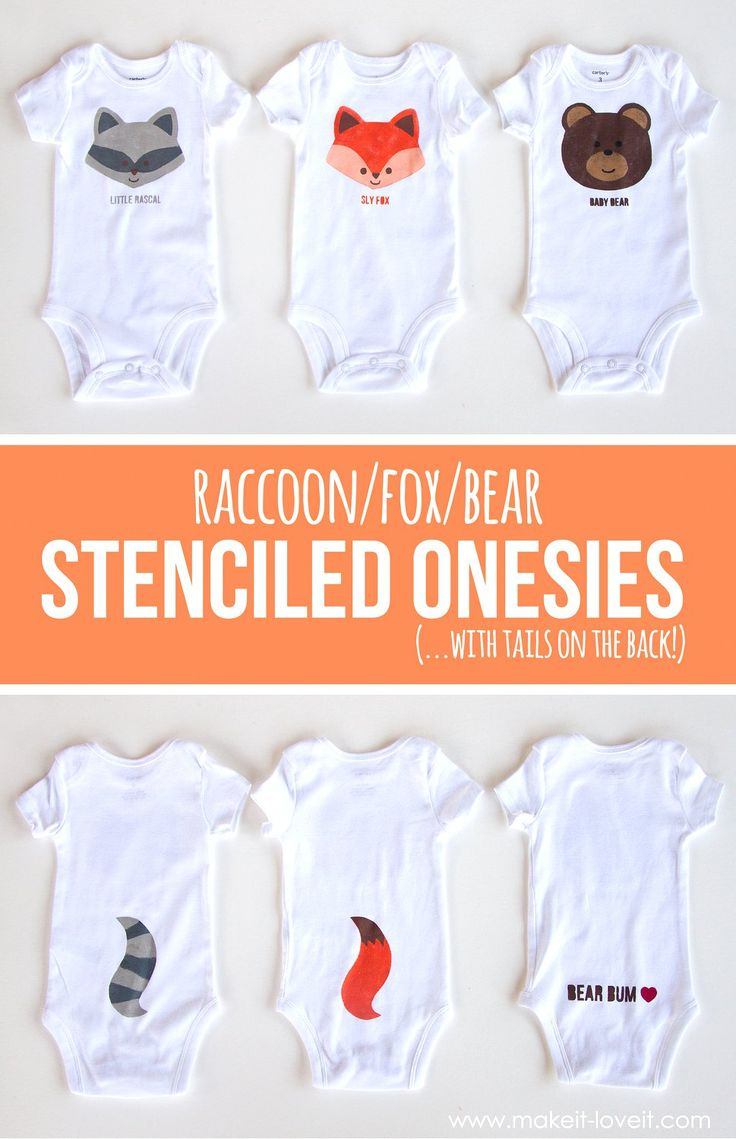Fox, Bear, & Raccoon DIY Stenciled Onesies (...with tails on the back!) | via www.makeit-loveit.com