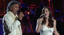 Turn UP YOUR SPEAKERS and enjoy...gives me goose bumps each time I hear it!   Andrea Bocelli Katharine McPhee Give Stunning Performance of The Prayer