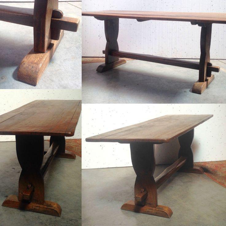 table monastère en chêne massif piètement à entretoise .XIX siècle .