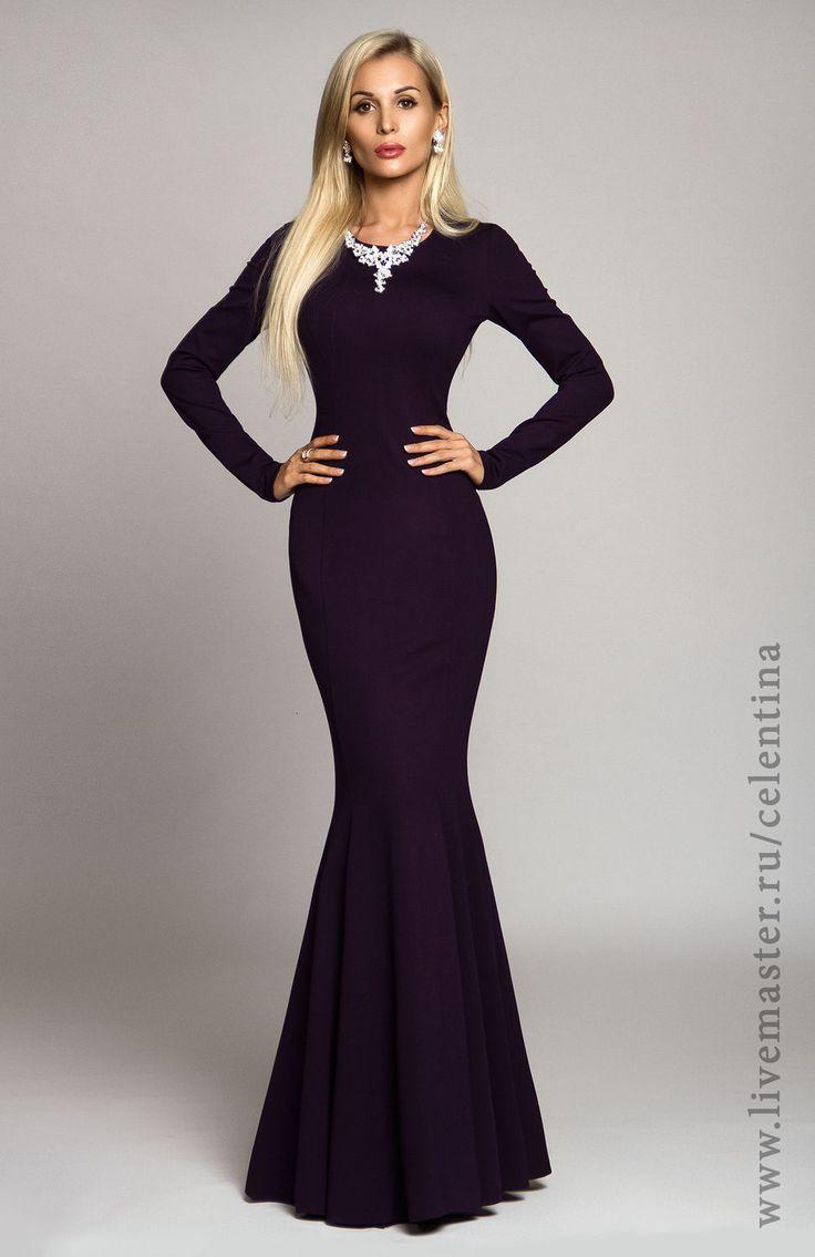Купить Длинное платье, фиолетовое платье, вечернее платье в пол, трикотажное - темно-фиолетовый