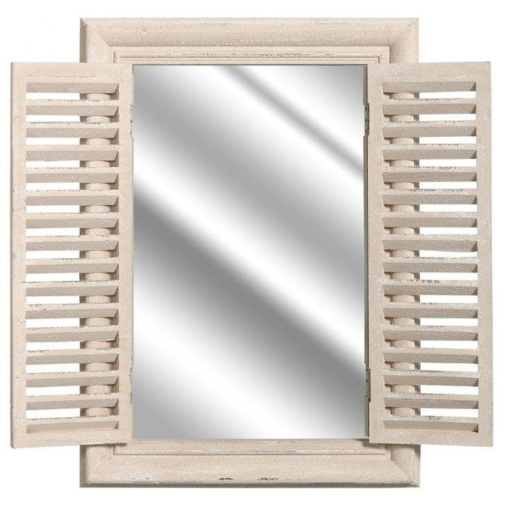 Lustro francuskie Bosco Belldeco to nietypowe lustro z okiennicami, które można zamykać i otwierać. Rama oraz okiennice lustra wykonane są z drewna paulownia o chropowatej fakturze. Są one celowo postarzane poprzez bielenie oraz przetarcia farby.