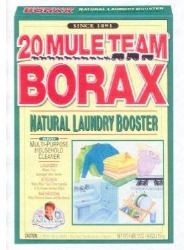20 Mule Team Borax To neutralize hard water and make clothes softer in laundry, add 3/4 C with detergent in washing machine. Use Borax on a damp sponge to clean and deodorize refrigerator shelves. Clean and deodorize garbage pails.