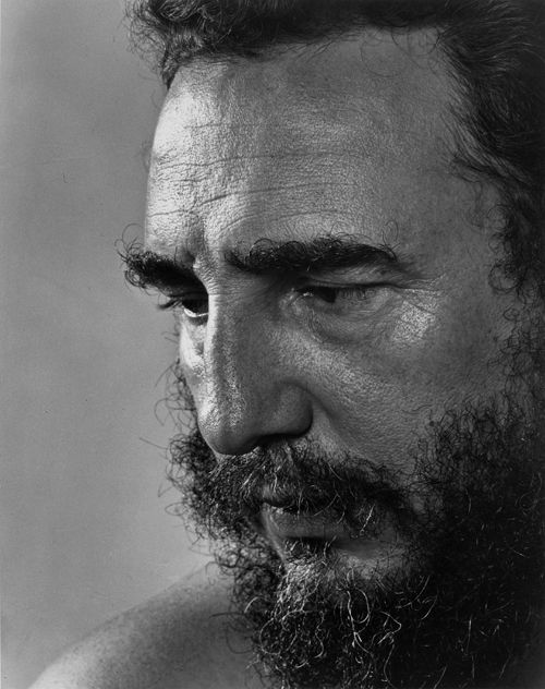 "Fidel Castro by Yousuf Karsh. ""There is a brief moment when all there is in a man's mind and soul and spirit is reflected through his eyes, his hands, his attitude. This is the moment to record."" YK"